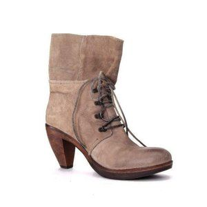 VIALIS mid calf WOODEN boots seude lace up